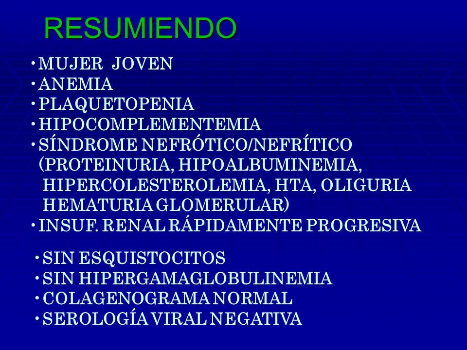 MUJER JOVEN ANEMIA PLAQUETOPENIA HIPOCOMPLEMENTEMIA SÍNDROME NEFRÓTICO/NEFRÍTICO (PROTEINURIA, HIPOALBUMINEMIA, HIPERCOLESTEROLEMIA, HTA, OLIGURIA HEMATURIA GLOMERULAR) INSUF.