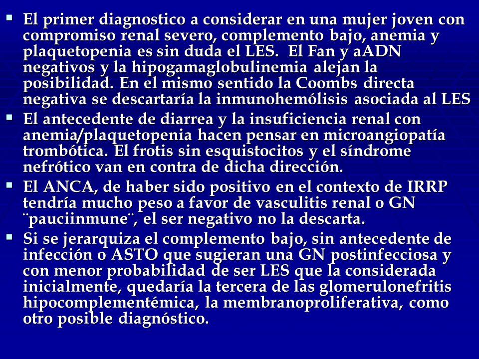 El primer diagnostico a considerar en una mujer joven con compromiso renal severo, complemento bajo, anemia y plaquetopenia es sin duda el LES.