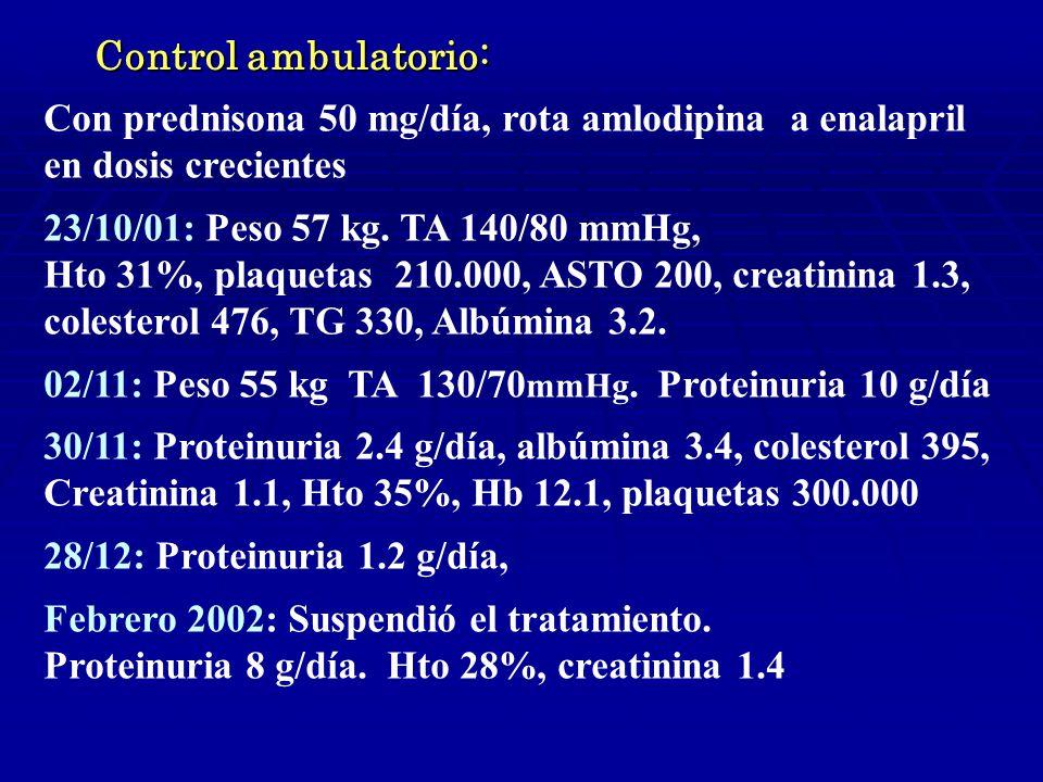 Control ambulatorio: Con prednisona 50 mg/día, rota amlodipina a enalapril en dosis crecientes 23/10/01: Peso 57 kg.
