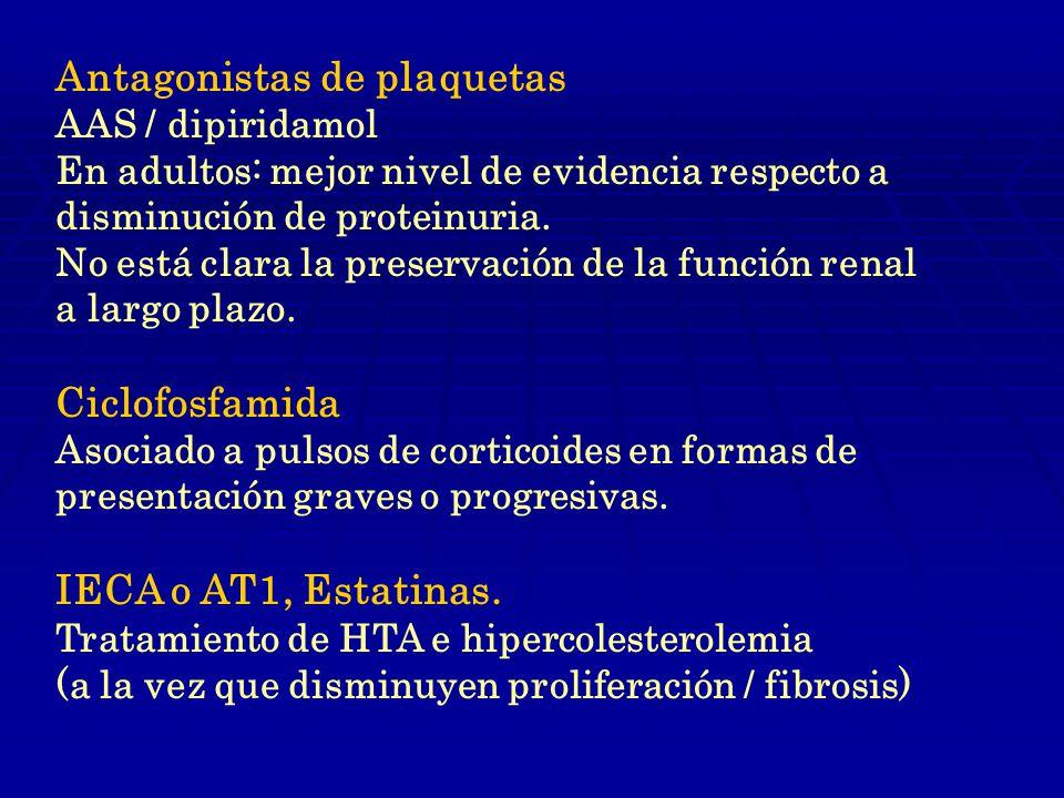 Antagonistas de plaquetas AAS / dipiridamol En adultos: mejor nivel de evidencia respecto a disminución de proteinuria.
