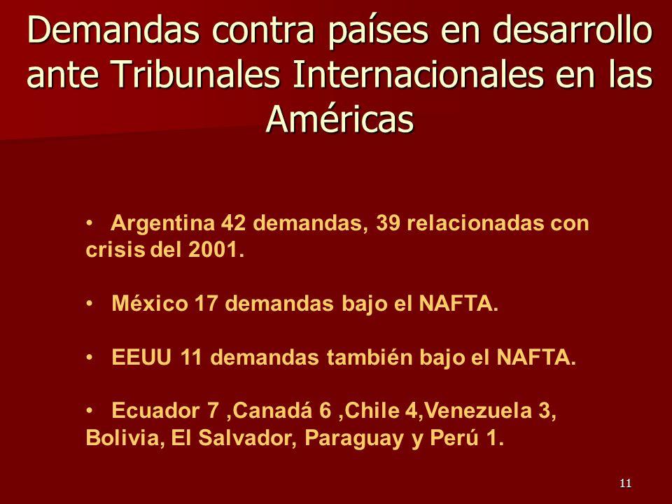 11 Demandas contra países en desarrollo ante Tribunales Internacionales en las Américas Argentina 42 demandas, 39 relacionadas con crisis del 2001. Mé
