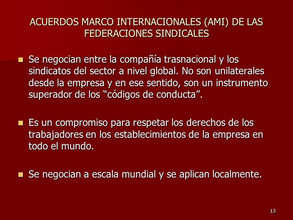 13 ACUERDOS MARCO INTERNACIONALES (AMI) DE LAS FEDERACIONES SINDICALES Se negocian entre la compañía trasnacional y los sindicatos del sector a nivel