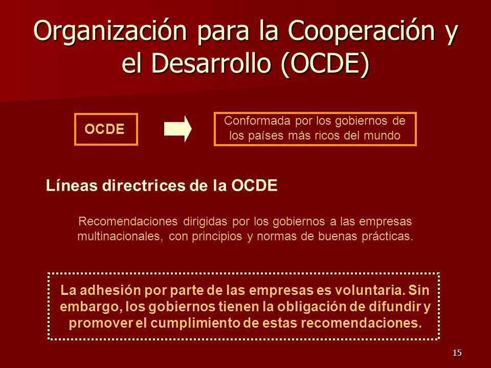 15 Organización para la Cooperación y el Desarrollo (OCDE) La adhesión por parte de las empresas es voluntaria. Sin embargo, los gobiernos tienen la o