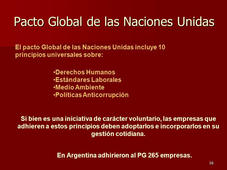 16 Pacto Global de las Naciones Unidas Derechos Humanos Estándares Laborales Medio Ambiente Políticas Anticorrupción El pacto Global de las Naciones U