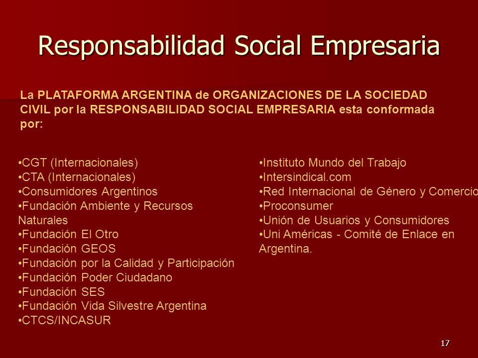 17 Responsabilidad Social Empresaria La PLATAFORMA ARGENTINA de ORGANIZACIONES DE LA SOCIEDAD CIVIL por la RESPONSABILIDAD SOCIAL EMPRESARIA esta conf