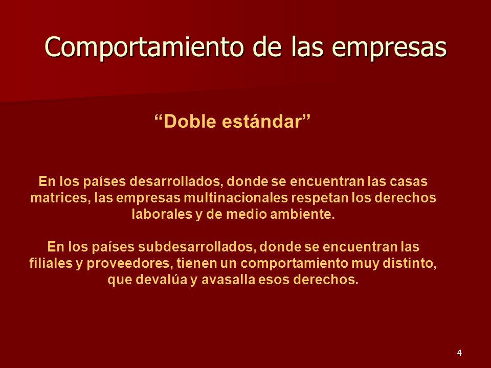 4 Comportamiento de las empresas Doble estándar En los países desarrollados, donde se encuentran las casas matrices, las empresas multinacionales resp
