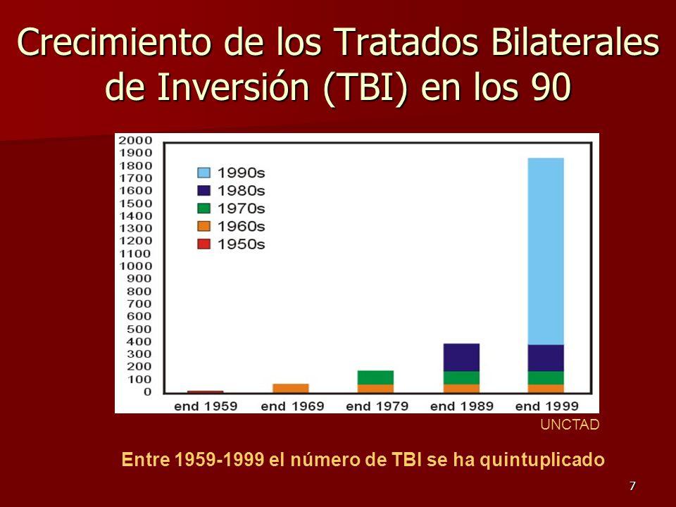 7 Crecimiento de los Tratados Bilaterales de Inversión (TBI) en los 90 Entre 1959-1999 el número de TBI se ha quintuplicado UNCTAD