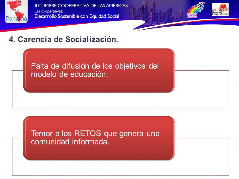 4. Carencia de Socialización. Falta de difusión de los objetivos del modelo de educación.