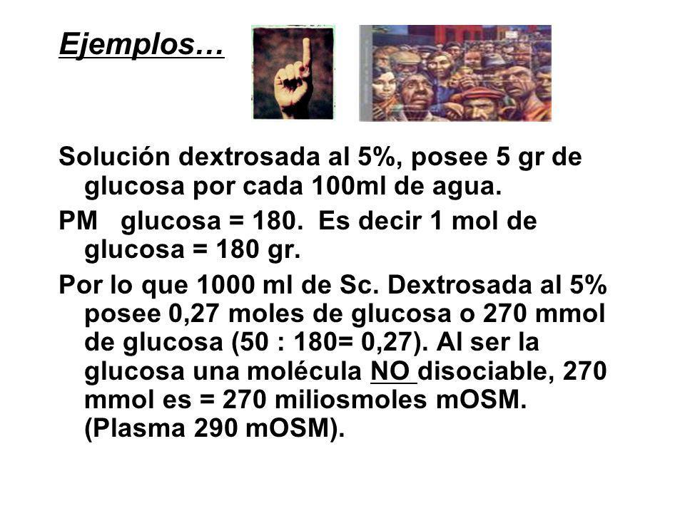 Ejemplos… Solución dextrosada al 5%, posee 5 gr de glucosa por cada 100ml de agua.