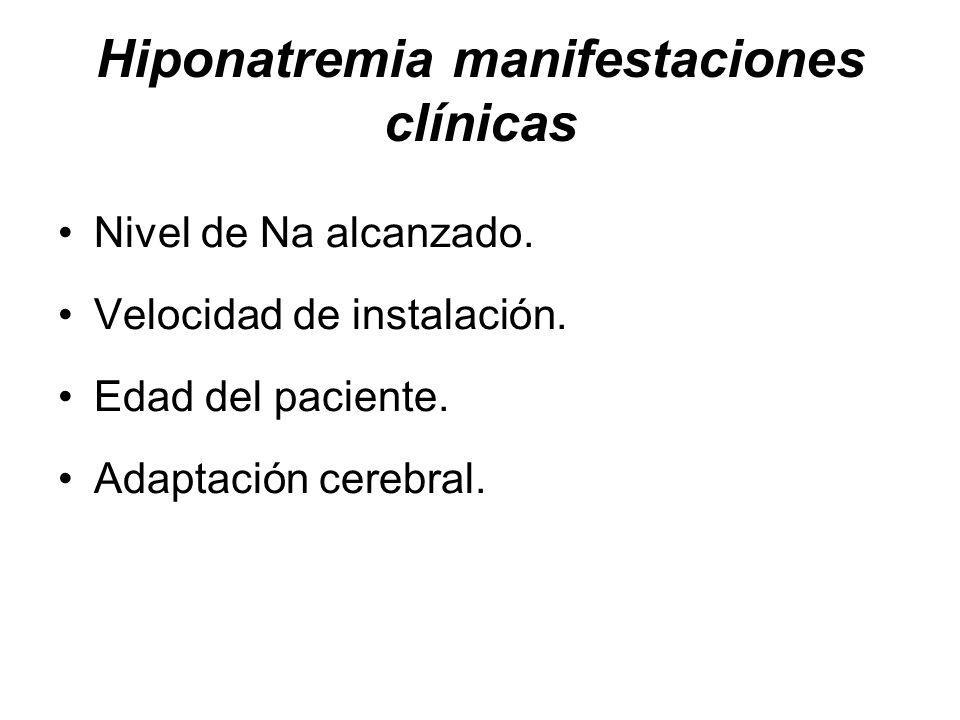 Hiponatremia manifestaciones clínicas Nivel de Na alcanzado.