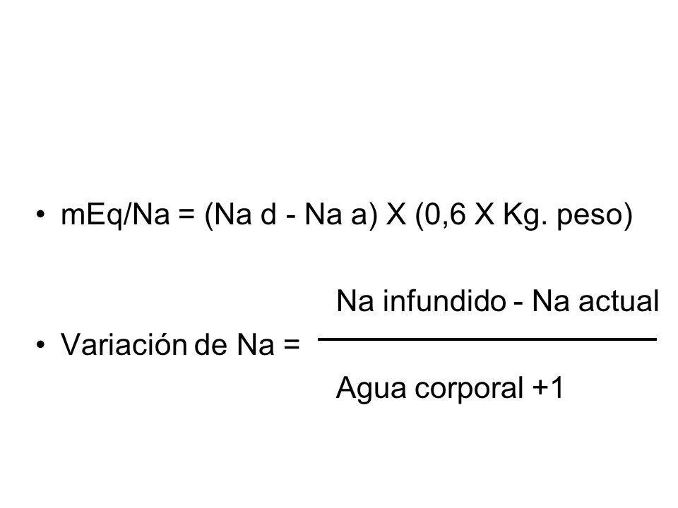 mEq/Na = (Na d - Na a) X (0,6 X Kg.