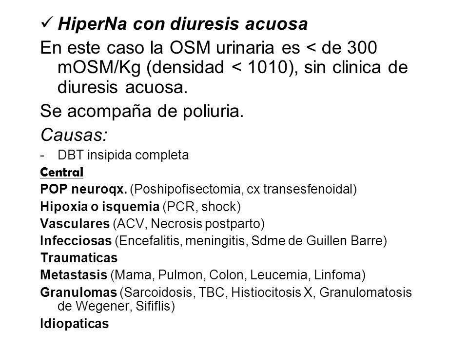HiperNa con diuresis acuosa En este caso la OSM urinaria es < de 300 mOSM/Kg (densidad < 1010), sin clinica de diuresis acuosa.