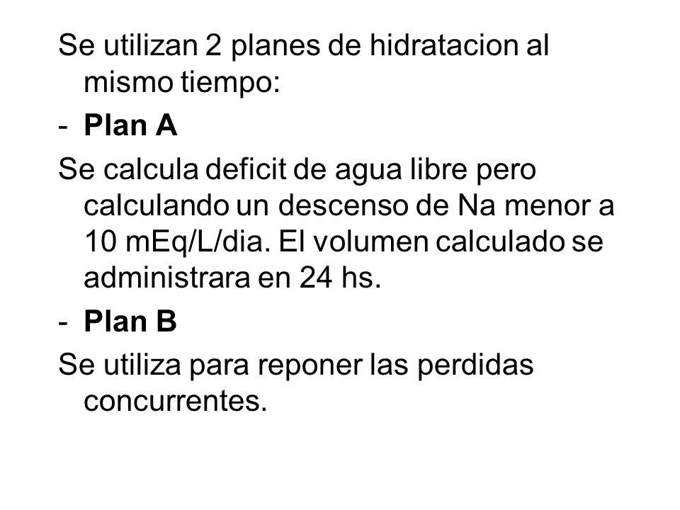 Se utilizan 2 planes de hidratacion al mismo tiempo: -Plan A Se calcula deficit de agua libre pero calculando un descenso de Na menor a 10 mEq/L/dia.
