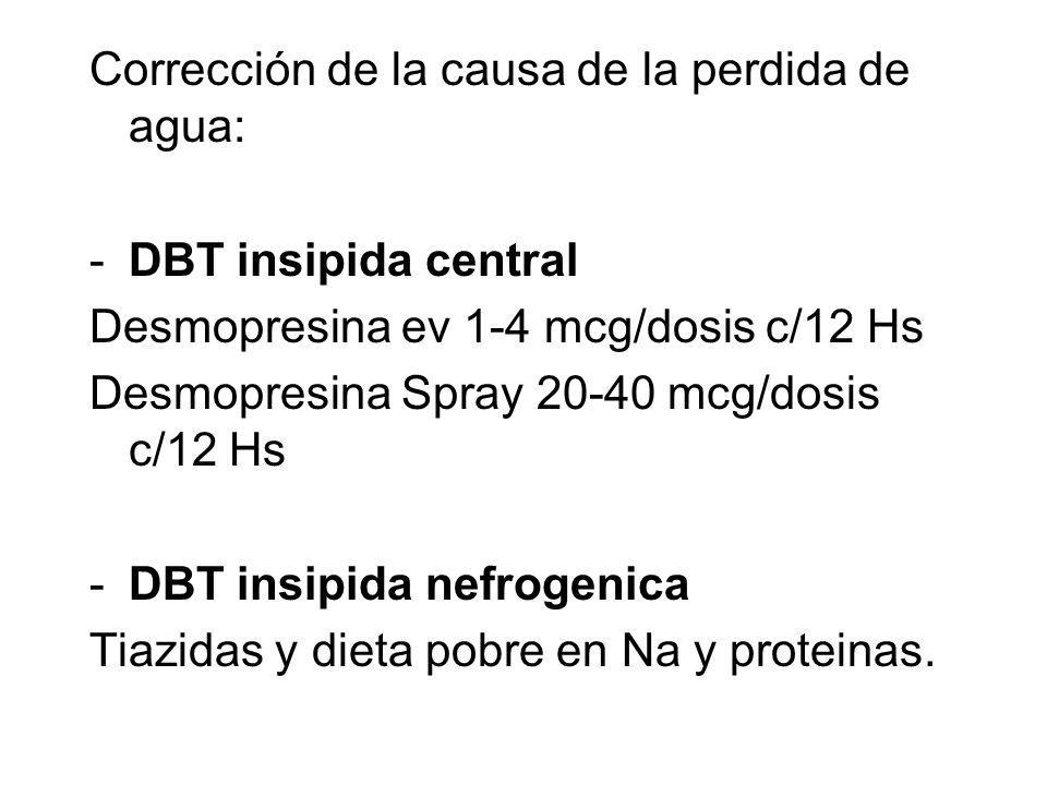 Corrección de la causa de la perdida de agua: -DBT insipida central Desmopresina ev 1-4 mcg/dosis c/12 Hs Desmopresina Spray 20-40 mcg/dosis c/12 Hs -DBT insipida nefrogenica Tiazidas y dieta pobre en Na y proteinas.