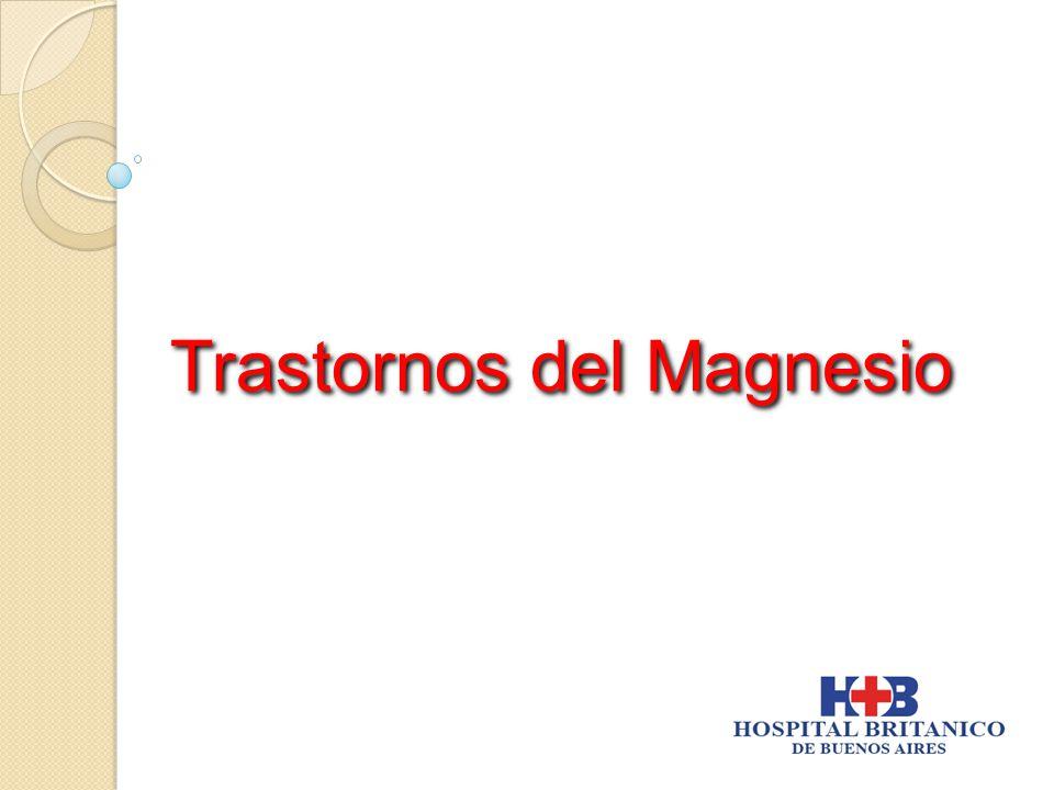 n Mg ++ plasmático alto : s > 2.5 mg / dL ( 1.7 - 2.5 ) s > 1.9 mEq / L ( 1.4 - 1.7 ) s > 0.9 mmol / L ( 0.7 - 0.85 ) n Mg ++ plasmático alto : s > 2.5 mg / dL ( 1.7 - 2.5 ) s > 1.9 mEq / L ( 1.4 - 1.7 ) s > 0.9 mmol / L ( 0.7 - 0.85 ) Incidencia: 10-15% de hospitalizados (insuficiencia renal) Rara si Fx renal normalIncidencia: 10-15% de hospitalizados (insuficiencia renal) Rara si Fx renal normal