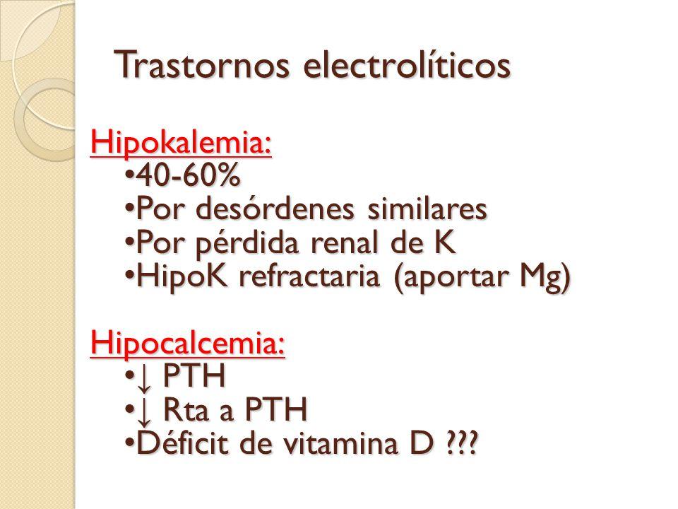Trastornos electrolíticos Hipokalemia: 40-60% 40-60% Por desórdenes similares Por desórdenes similares Por pérdida renal de K Por pérdida renal de K H