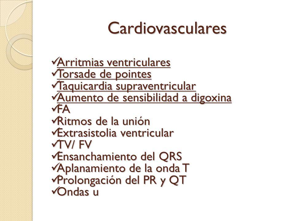 Cardiovasculares Arritmias ventriculares Arritmias ventriculares Torsade de pointes Torsade de pointes Taquicardia supraventricular Taquicardia suprav