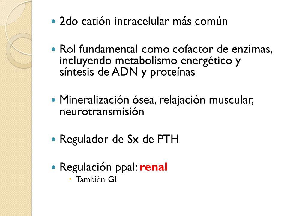 Síntomas y signos Neuromusculares Cardiovasculares Hipocalcemia Leve: 4-6 mEq/L: náuseas, flushing, cefalea, letargo, mareos, hiporreflexia Moderada: 6-10 mEq/L: somnolencia, hipocalcemia, arreflexia tendinosa, hipoTA, bradicardia, cambios ECG Severa: > 10 mEq/L: parálisis muscular, parálisis respiratoria, bloqueo cardíaco, PCR.