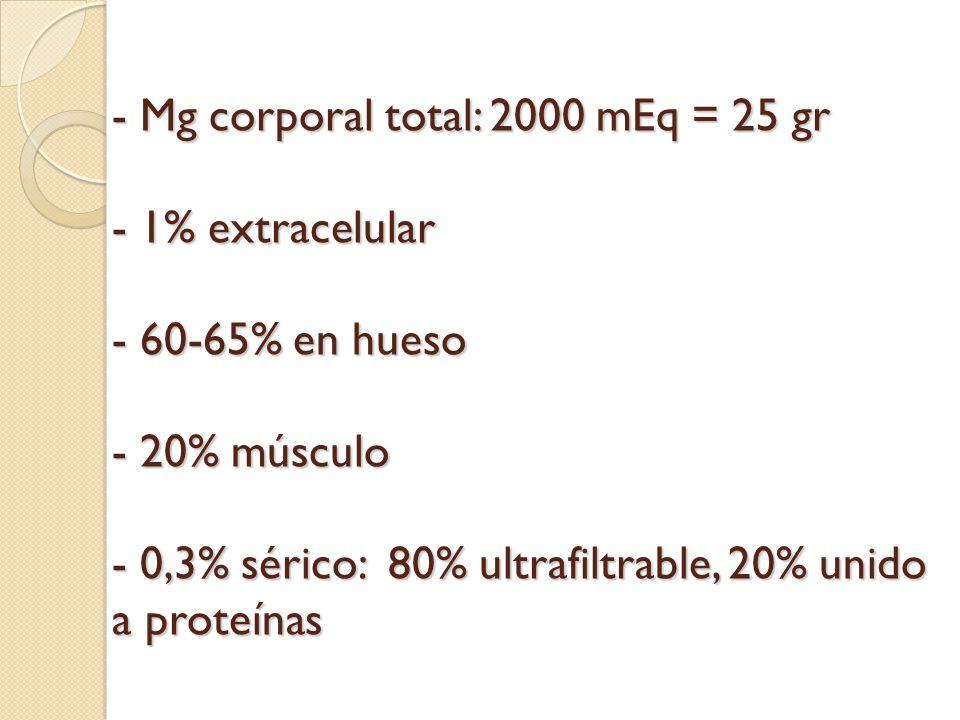 PTH Mg : PTH Mg : PTH Sin embargo déficits importantes de Mg inhiben PTH e inducen R a su acción, dando hipoCa, tetania, arritmias, litiasis Sin embargo déficits importantes de Mg inhiben PTH e inducen R a su acción, dando hipoCa, tetania, arritmias, litiasis