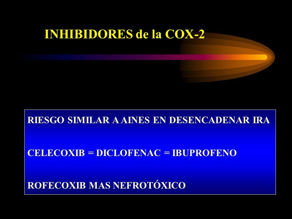 INHIBIDORES de la COX-2 RIESGO SIMILAR A AINES EN DESENCADENAR IRA CELECOXIB = DICLOFENAC = IBUPROFENO ROFECOXIB MAS NEFROTÓXICO