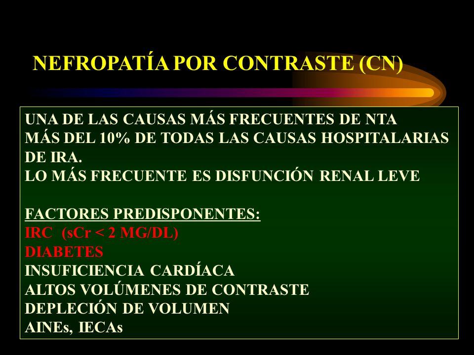 NEFROPATÍA POR CONTRASTE (CN) UNA DE LAS CAUSAS MÁS FRECUENTES DE NTA MÁS DEL 10% DE TODAS LAS CAUSAS HOSPITALARIAS DE IRA. LO MÁS FRECUENTE ES DISFUN