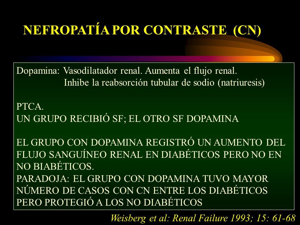 NEFROPATÍA POR CONTRASTE (CN) Dopamina: Vasodilatador renal.