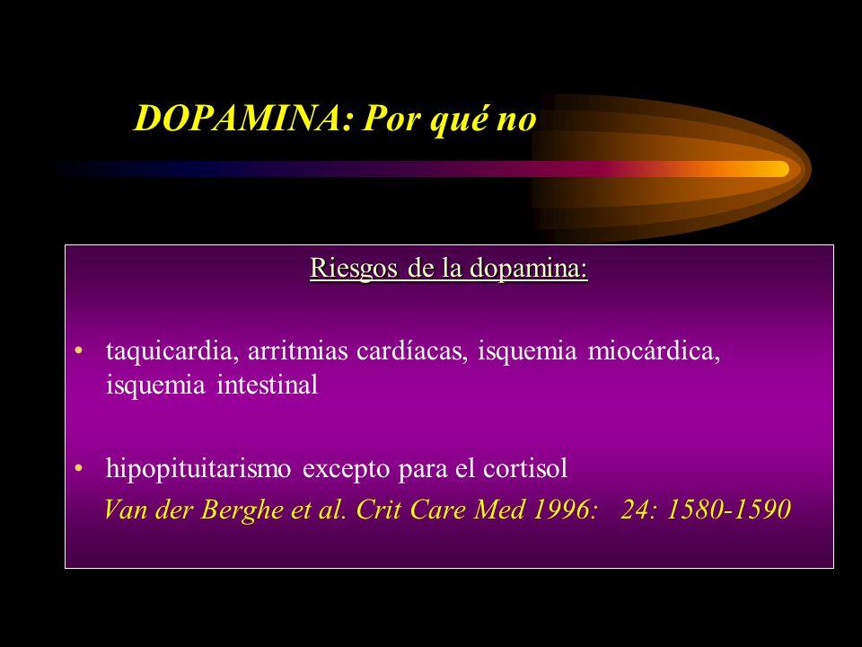 DOPAMINA: Por qué no Riesgos de la dopamina: taquicardia, arritmias cardíacas, isquemia miocárdica, isquemia intestinal hipopituitarismo excepto para el cortisol Van der Berghe et al.