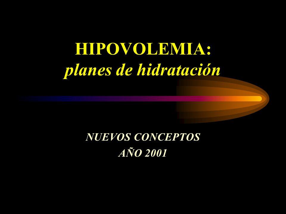 HIPOVOLEMIA: planes de hidratación NUEVOS CONCEPTOS AÑO 2001