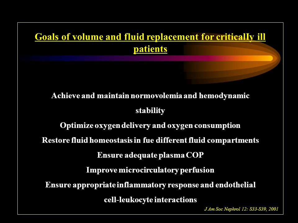 Goals of volume and fluid replacement for criticalIy ill patients Achieve and maintain normovolemia and hemodynamic stability Optimize oxygen delivery