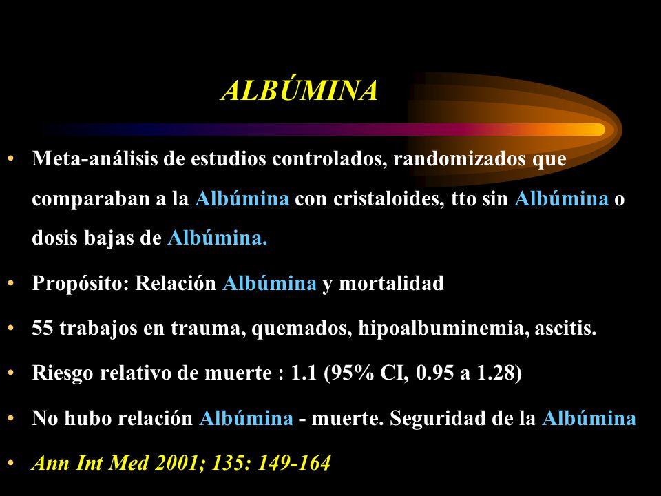 ALBÚMINA Meta-análisis de estudios controlados, randomizados que comparaban a la Albúmina con cristaloides, tto sin Albúmina o dosis bajas de Albúmina.