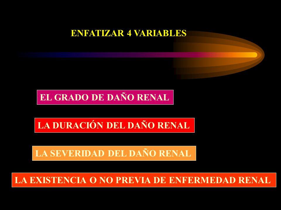ENFATIZAR 4 VARIABLES EL GRADO DE DAÑO RENAL LA DURACIÓN DEL DAÑO RENAL LA SEVERIDAD DEL DAÑO RENAL LA EXISTENCIA O NO PREVIA DE ENFERMEDAD RENAL