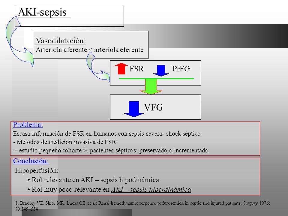 AKI-sepsis Vasodilatación: Arteriola aferente < arteriola eferente FSR PrFG VFG Problema: Escasa información de FSR en humanos con sepsis severa- shoc