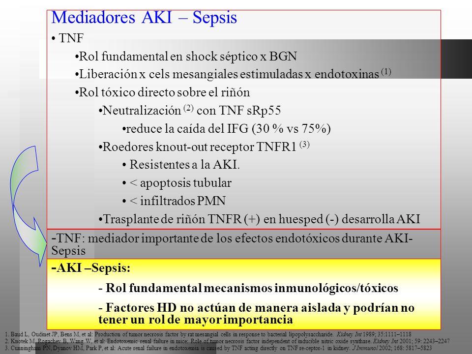 Mediadores AKI – Sepsis TNF Rol fundamental en shock séptico x BGN Liberación x cels mesangiales estimuladas x endotoxinas (1) Rol tóxico directo sobr