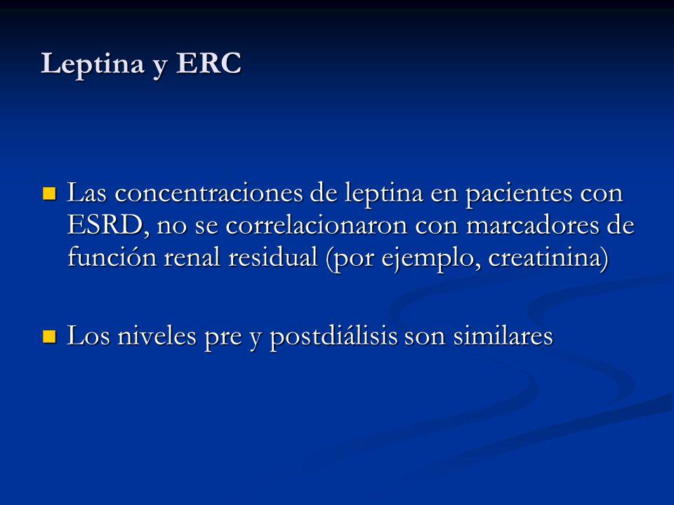 Leptina y ERC En pacientes con ESRD, la hiperleptinemia no se asocia con pérdida de peso En pacientes con ESRD, la hiperleptinemia no se asocia con pérdida de peso En pacientes con ESRD, la hipoleptinemia sería un factor predictor de mortalidad cardiovascular y por infecciones En pacientes con ESRD, la hipoleptinemia sería un factor predictor de mortalidad cardiovascular y por infecciones Se reduce la reactividad de las células T helper Se reduce la reactividad de las células T helper Se asocia a caquexia cardíaca y pobre pronóstico Se asocia a caquexia cardíaca y pobre pronóstico