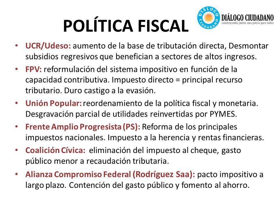 POLÍTICA FISCAL UCR/Udeso: aumento de la base de tributación directa, Desmontar subsidios regresivos que benefician a sectores de altos ingresos.
