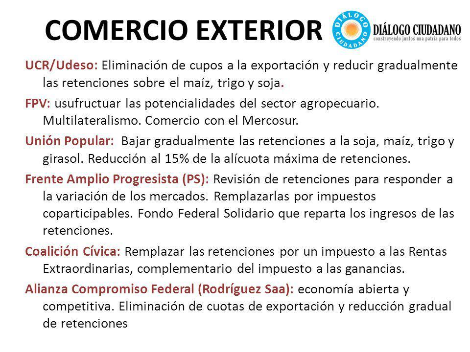 COMERCIO EXTERIOR UCR/Udeso: Eliminación de cupos a la exportación y reducir gradualmente las retenciones sobre el maíz, trigo y soja.