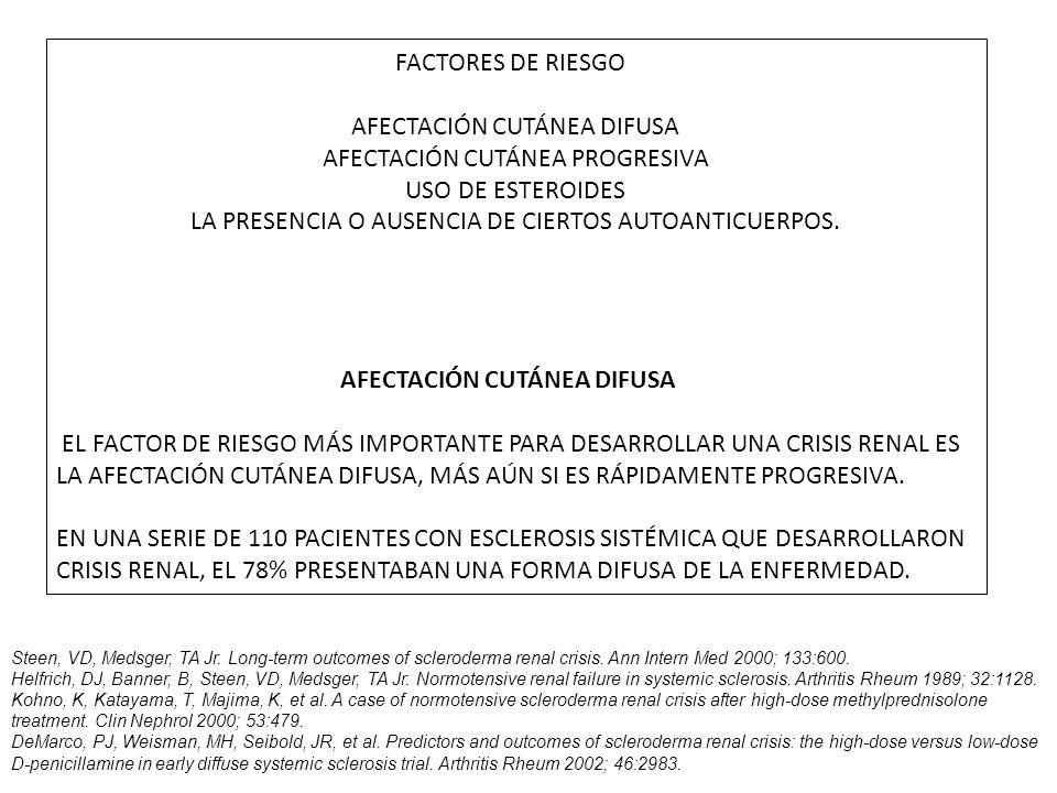 FACTORES DE RIESGO AFECTACIÓN CUTÁNEA DIFUSA AFECTACIÓN CUTÁNEA PROGRESIVA USO DE ESTEROIDES LA PRESENCIA O AUSENCIA DE CIERTOS AUTOANTICUERPOS.
