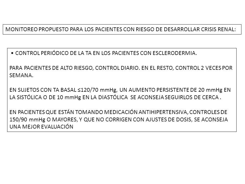 MONITOREO PROPUESTO PARA LOS PACIENTES CON RIESGO DE DESARROLLAR CRISIS RENAL: CONTROL PERIÓDICO DE LA TA EN LOS PACIENTES CON ESCLERODERMIA.