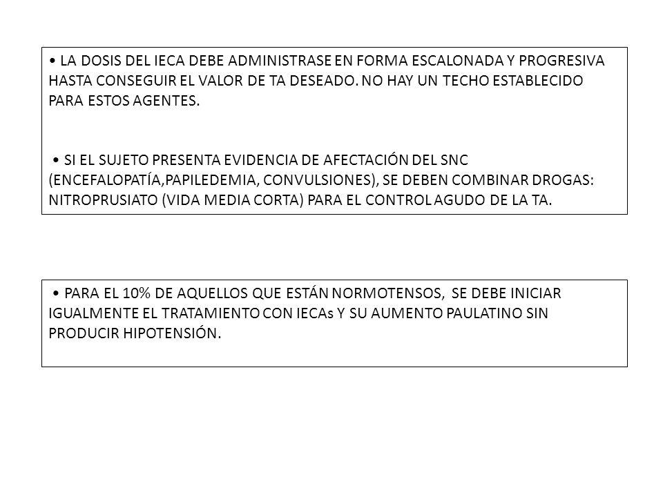 LA DOSIS DEL IECA DEBE ADMINISTRASE EN FORMA ESCALONADA Y PROGRESIVA HASTA CONSEGUIR EL VALOR DE TA DESEADO.