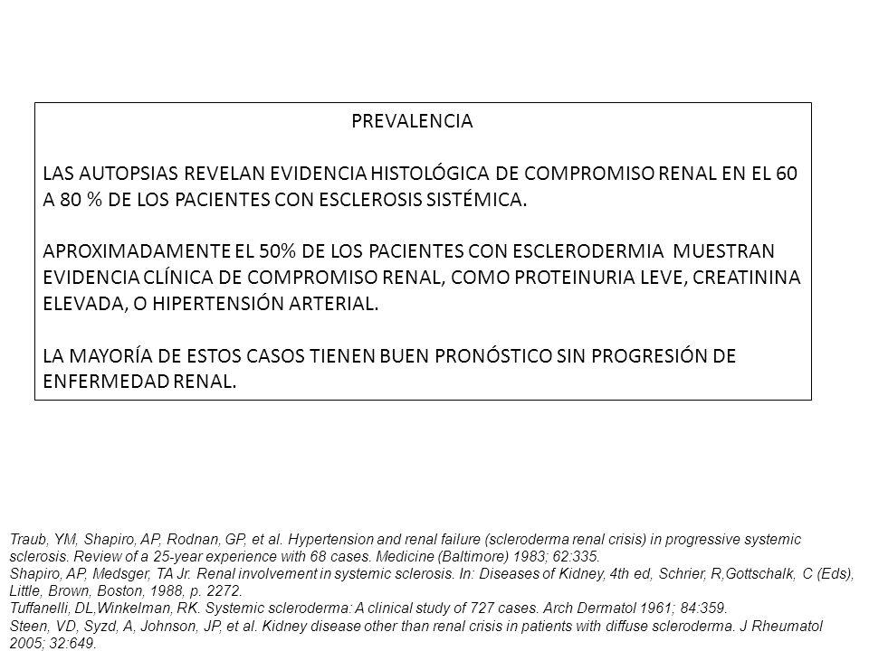 MANIFESTACIONES RENALES GENERALES COMO FUERA MENCIONADO PREVIAMENTE, EL 50% DE LOS PACIENTES CON ESCLERODERMIA PRESENTAN ALGUNA EVIDENCIA DE COMPROMISO RENAL, COMO PROTEINURIA, ELEVACIONES DISCRETAS DE LA CREATININA, Y/O HIPERTENSIÓN ARTERIAL.