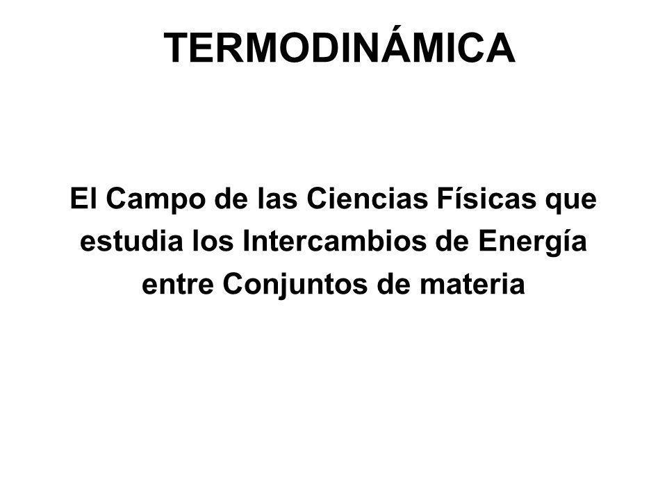 TERMODINÁMICA El Campo de las Ciencias Físicas que estudia los Intercambios de Energía entre Conjuntos de materia