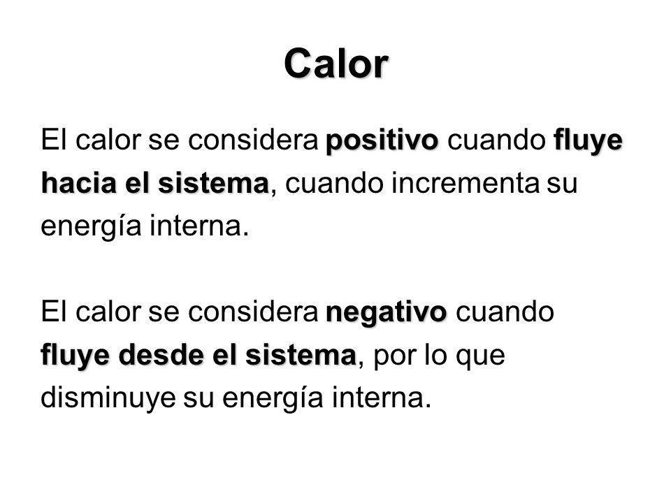 Calor positivofluye El calor se considera positivo cuando fluye hacia el sistema hacia el sistema, cuando incrementa su energía interna. negativo El c