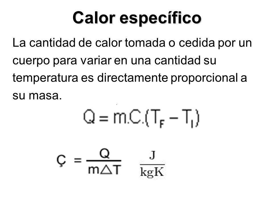 Calor específico La cantidad de calor tomada o cedida por un cuerpo para variar en una cantidad su temperatura es directamente proporcional a su masa.