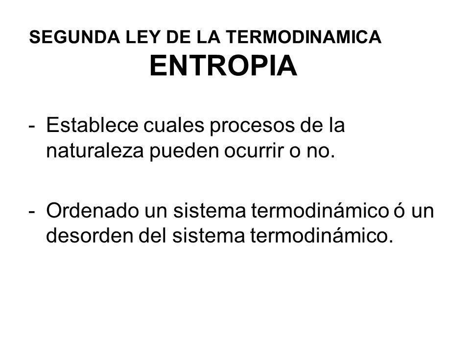 SEGUNDA LEY DE LA TERMODINAMICA ENTROPIA -Establece cuales procesos de la naturaleza pueden ocurrir o no. -Ordenado un sistema termodinámico ó un deso