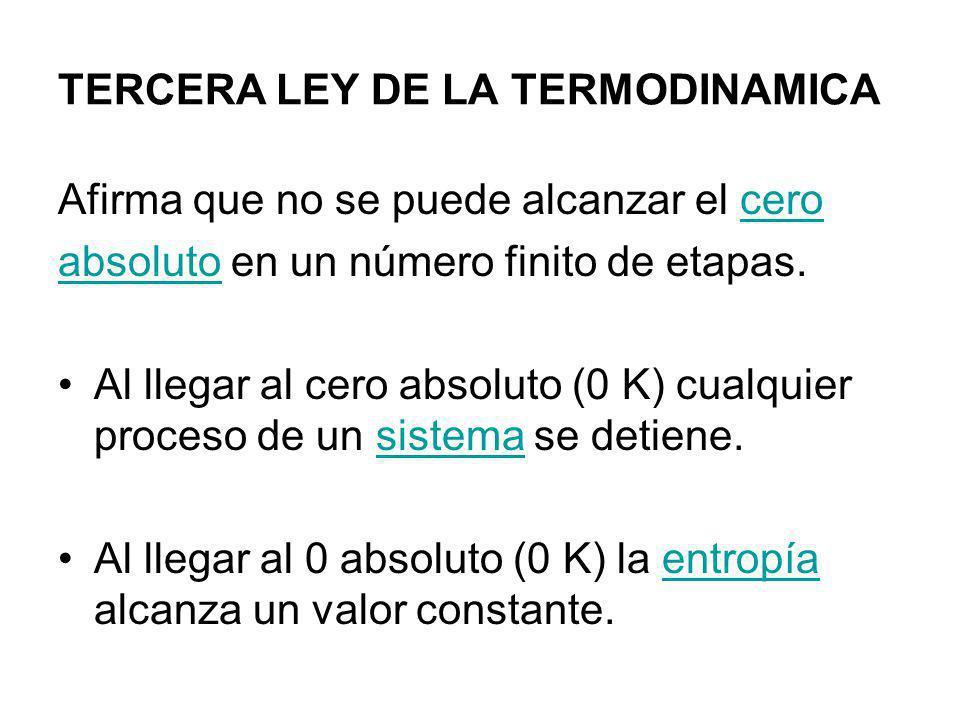 TERCERA LEY DE LA TERMODINAMICA Afirma que no se puede alcanzar el cerocero absolutoabsoluto en un número finito de etapas. Al llegar al cero absoluto