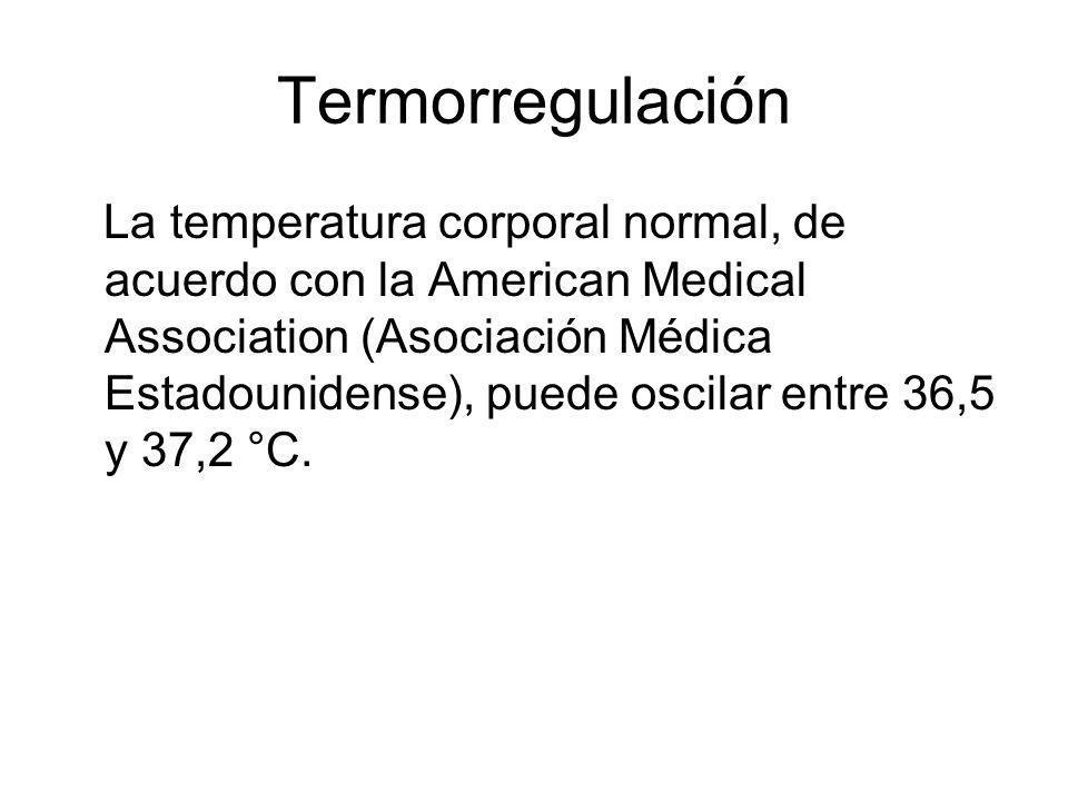 La temperatura corporal normal, de acuerdo con la American Medical Association (Asociación Médica Estadounidense), puede oscilar entre 36,5 y 37,2 °C.