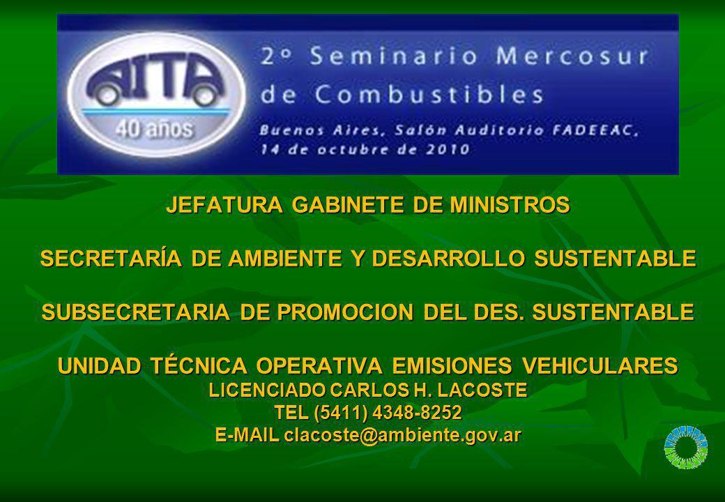 JEFATURA GABINETE DE MINISTROS SECRETARÍA DE AMBIENTE Y DESARROLLO SUSTENTABLE SUBSECRETARIA DE PROMOCION DEL DES. SUSTENTABLE UNIDAD TÉCNICA OPERATIV