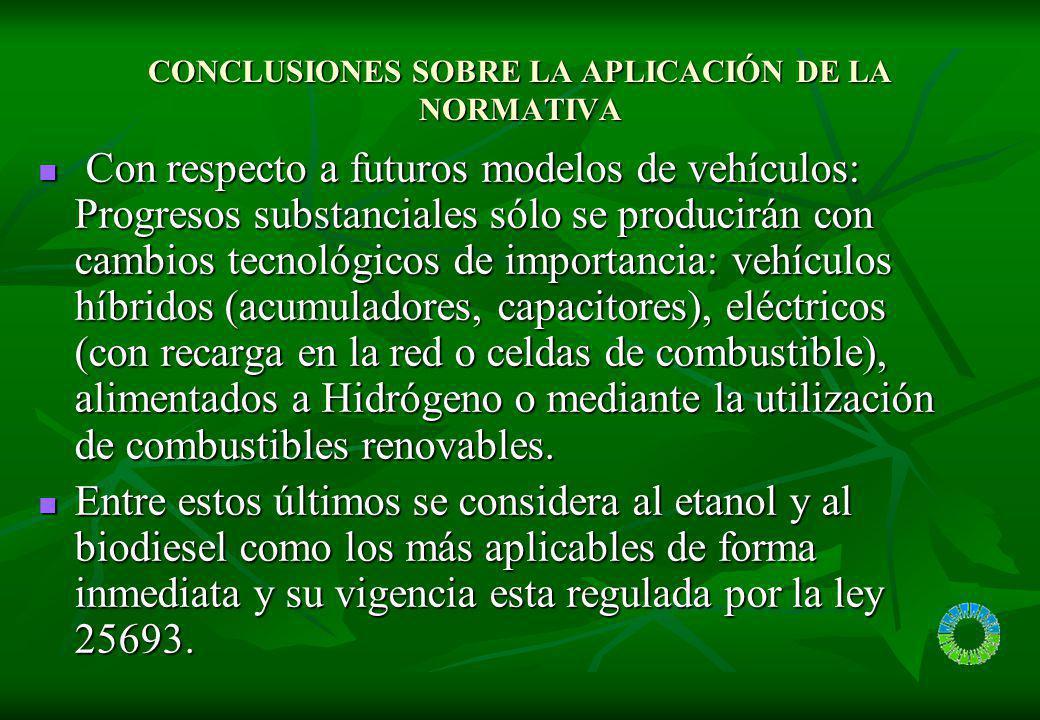 CONCLUSIONES SOBRE LA APLICACIÓN DE LA NORMATIVA Con respecto a futuros modelos de vehículos: Progresos substanciales sólo se producirán con cambios t