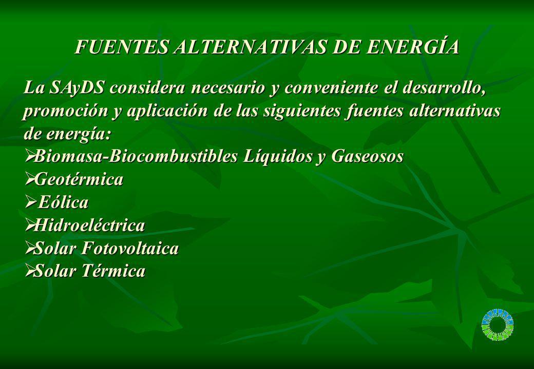 FUENTES ALTERNATIVAS DEENERGÍA FUENTES ALTERNATIVAS DE ENERGÍA La SAyDS considera necesario y conveniente el desarrollo, promoción y aplicación de las