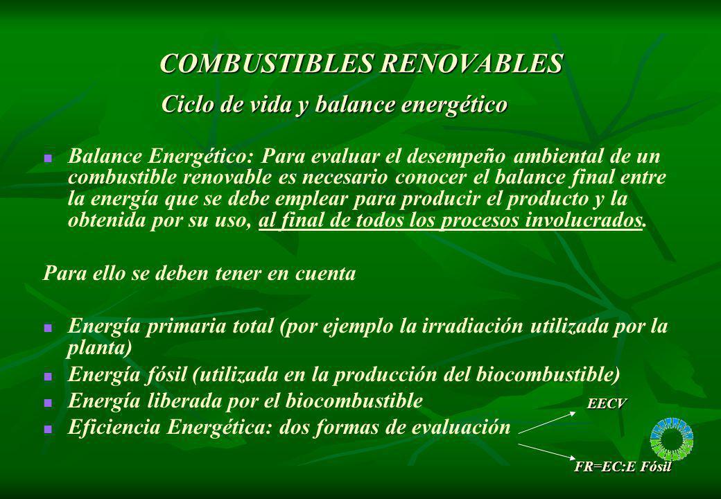 COMBUSTIBLES RENOVABLES Balance Energético: Para evaluar el desempeño ambiental de un combustible renovable es necesario conocer el balance final entr
